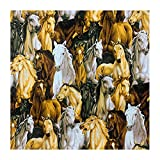 ANWUYANG BU 1 Unids 110x50cm Tela De Patrón De Caballo Marrón, Tejido De Algodón Grupo De Caballo Impreso De Costura Acolchado Paño De Tela De Hogar Bricolaje Ropa