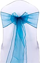 Urtronix Organza Chair Cover Sashes Ribbon Bows for Wedding Party Decoration (10, Peacock blue)