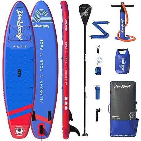 AQUAPLANET PACE SUP Set (tavolo 3,2 x 76 cm x 15 cm). Include pompa d'aria, paletta regolabile in alluminio, zaino resistente, cinturino gamba premium, borsa per accessori da surf, tracolla e altro.