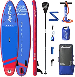 """Aquaplanet 10ft 6"""" x 15cm PACE Stand Up Paddleboard - Incl: SUP, Hand Air Pump w/Pressure Gauge, Adjustable Aluminum Float..."""