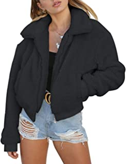 Women's Short Faux Fur Bomber Coat Casual Shaggy Jacket with Pockets Warm Winter Zip-Up Fluffy Outwear