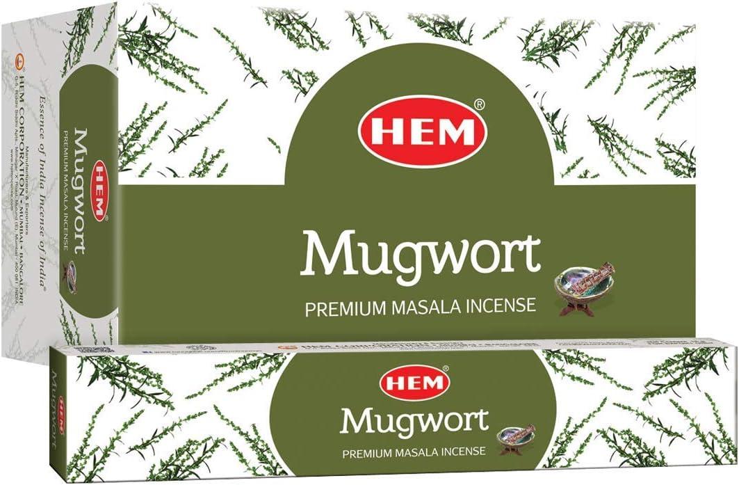 HEM Mugwort Natural Masala Relaxing Incense Sticks - 12 Packets