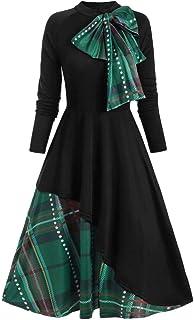 VEMOW - Abito da sera da donna, vintage, con arco, scollo rotondo, slitta, per feste, swing, vestito elegante