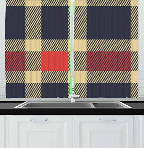 """Ambesonne Checkered Kitchen Curtains, Vintage Plaid Scottish Tartan Pattern with Retro Display Checks Lines, Window Drapes 2 Panel Set for Kitchen Cafe Decor, 55"""" X 39"""", Blue Coral"""