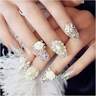 Drecode False Nails Bling Rhinestone Bead Flower Sliver Sequins Full Cover Fake Nails Wedding Birthday Party Acrylic Nails for Women and Girls