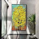 Pintura Al Óleo Pintada A Mano,100% Pintado A Mano Arte Pintura Al Óleo sobre Lienzo Textura Paleta Cuchillo Amarillo Flor Árbol Pinturas Modernas Interior Decoración Arte Abstracto 3D Flores Pint