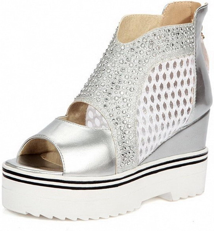 WeenFashion Women's Zipper High Heels Open Toe Blend Materials Solid Sandals