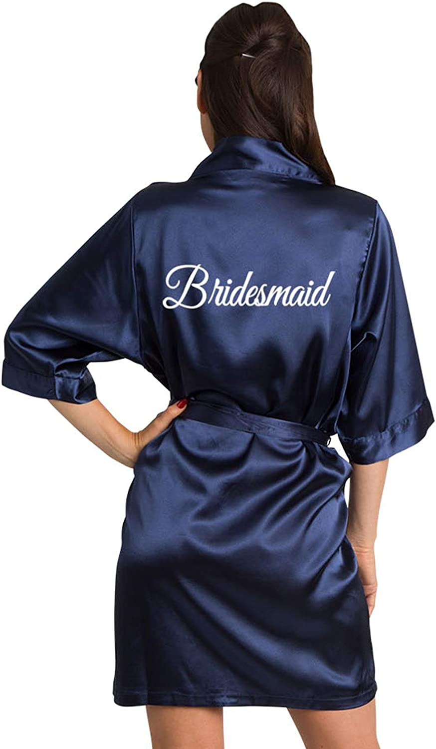 Zynotti Women's Embroidered Bridesmaid, Maid of Honor, Mother of the Bride and Groom Wedding Party Satin Robe