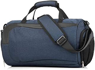 Dry Wet Separated Gym Bag,TEEPAO 21L Large Portable Men Women Shoulder And Back Duffel Bag With Independent Shoes,Toiletries,Umbrellas Storage For Training Basketball Football Fitness(Blue)