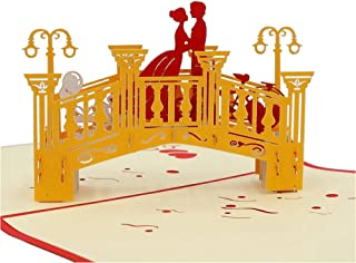 IShareCards Papercraft Handmade 3D Pop Up Greeting Cards for Valentines,Lovers,Couple's Happy Anniversary Gifts (Love Bridge)