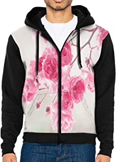 Men Hoodie Pretty Pink Roses Hot Full Zip with Pocket Jackets Lightweight Halloween