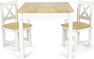 Leomark Mesa y sillas de Madera para niños - Pola - Juego de Muebles Infantiles en el Estilo escandinavo (Blanco/Pino), Altura: 53 cm
