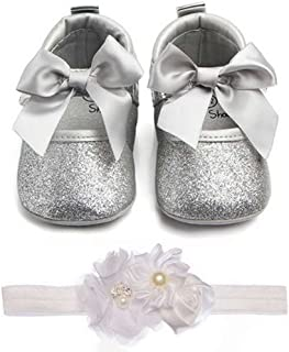Lidiano Baby Girls Bowknot Sequins Bling Anti-Slip Mary Jane Flat Crib Shoes with Headband (12-18 Months, Silver)