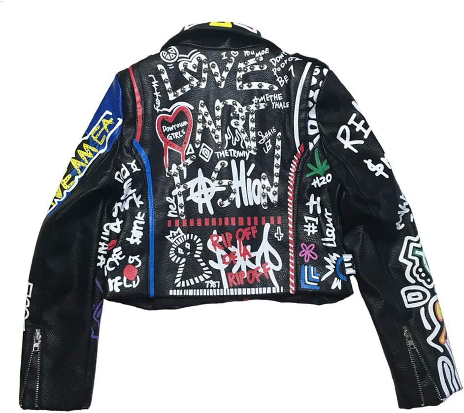 Leather Jacket Women Graffiti Colorful Print Biker Jackets and Coats Punk Streetwear Ladies Clothes,Black,S