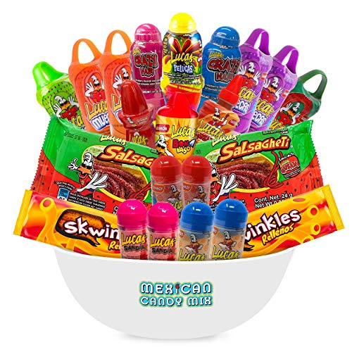 Lucas Mexican Candy Mix (22 Count) of Muecas Mango, Chamoy, Watermelon, Gusano, Baby Powder and Crazy Hair, Makes a Popular Assortment by Ole Rico