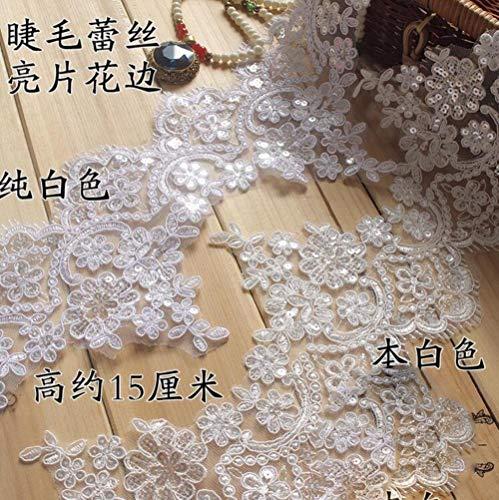 1 Yard 14cm breedte wit ivoor roze rood blauw zwart Sequin Eyeflash Lace stof Lace Trim Fbric naaien gordijn Craft, wit