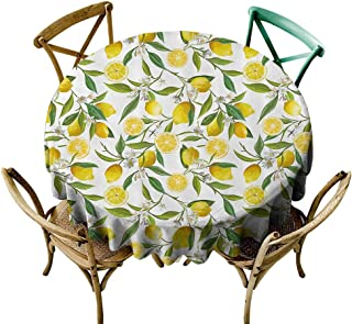 one1love Stain Resistant Round Tablecloth Nature Exotic Lemon Tree Branches Yummy Delicious Kitchen Gardening Design Stain Resistant, Washable 60 INCH Fern Green Yellow White