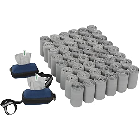 HOMMP 1000 bolsas biodegradables compostables para excrementos, bolsas para desechos de perros, 50 rollos, sin perfume + 2 dispensadores