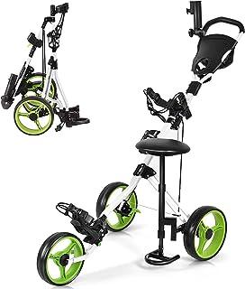 GYMAX 3 Wheel Golf Push Cart, Folding Golf Pull Trolley with Drink Holder Seat Scoreboard Bag, Lightweight Push Pull Golf Cart