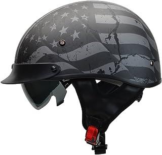 Vega Helmets Warrior Motorcycle Half Helmet with Sunshield for Men & Women,..