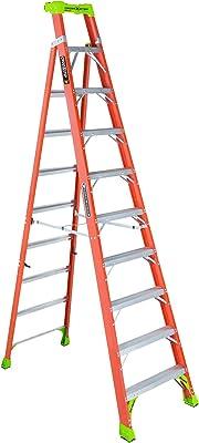 Louisville Ladder 10-Foot Fiberglass Cross-Step Step/Shelf Ladder, 300-Pound Capacity, Type IA, Orange, FXS1510
