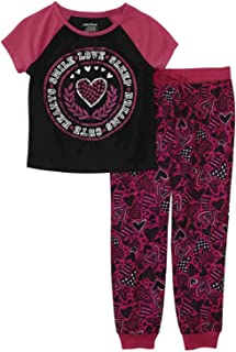 Girls Grey Love Sleep Pink Glitter Pajamas Lightweight Sleep Dress Shirt