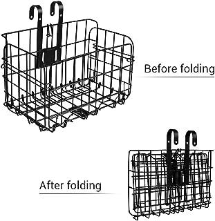 HEYNEMO Folding Rear Bike Basket Wire Mesh Rust Proof Easy Installation on Front Handlebar Foldable