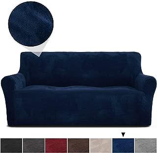 RHF Velvet-Sofa Slipcover, Stretch Couch Covers for 3 Cushion Couch-Couch Covers for Sofa-Sofa Covers for Living Room,Couch Covers for Dogs, Sofa Slipcover,Couch slipcover(Navy-Sofa)