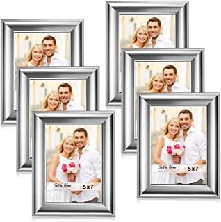 LaVie Home 5x7 Picture Frames(6 Pack,Silver) Photo Frame Set with High Definition Glass for Wall Mount & Table Top Display, Set of 6 Alice Collection