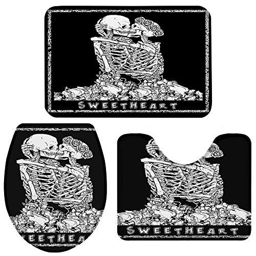 EIJFKNC Halloween Skull Hug Kissing Rose Lover Juego de alfombras de baño Negras Alfombra de Inodoro Alfombra de Pedestal Juego de Accesorios de baño Antideslizantes, L