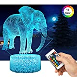 <span class='highlight'><span class='highlight'>QiLiTd</span></span> 3D Elephant LED Gift Toy Décor Night Light, 16 Colours Change Smart Touch Remote Control USB & Battery Operated Dimmable Decoration Lamp for Baby Boy Girl Kids Women Men Birthday Present