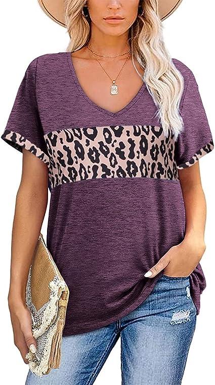 rrhss Women Tunics Leopard Color Block V-Neck Tops Casual Short Sleeve T-Shirts