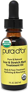 PURA D'OR USDA Organic Scar and Stretch Mark Treatment Oil - For Skin - With Rosehip, Wheat Germ, Argan, Tamanu, Carrot, Rosemary, Lavender, Geranium, Patchouli, Sage