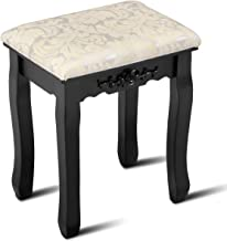 Giantex Vanity Stool Makeup Bench Dressing Stools Retro Wave Foot Floor Pad for Scratch Solid Pine Wood Legs Thick Padded Cushioned Chair Piano Seat Bathroom Bedroom Large Vanity Benches, Black