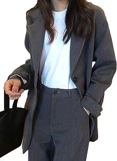 物思いにふける継続中パターンYiTongスーツジャケット レディース コート 長袖 秋服 レディース テーラードジャケット ゆったり 無地 気質 ブレザ ファッションー ジャケット 体型カバー カジュアル アウター 通勤 お出かけ