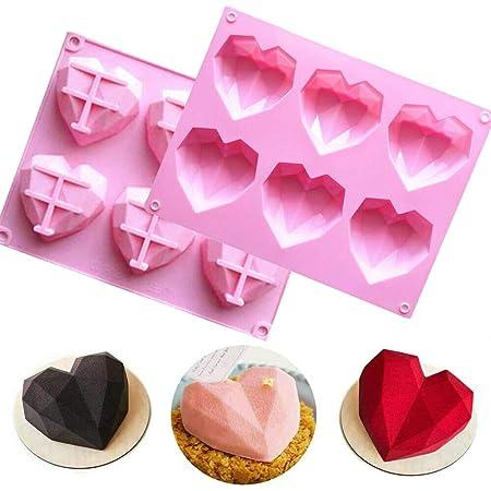 2 moldes de silicona con forma de corazón en forma de diamante 3D, antiadherente, para hornear pan, molde para hornear tartas en el hogar (rosa)