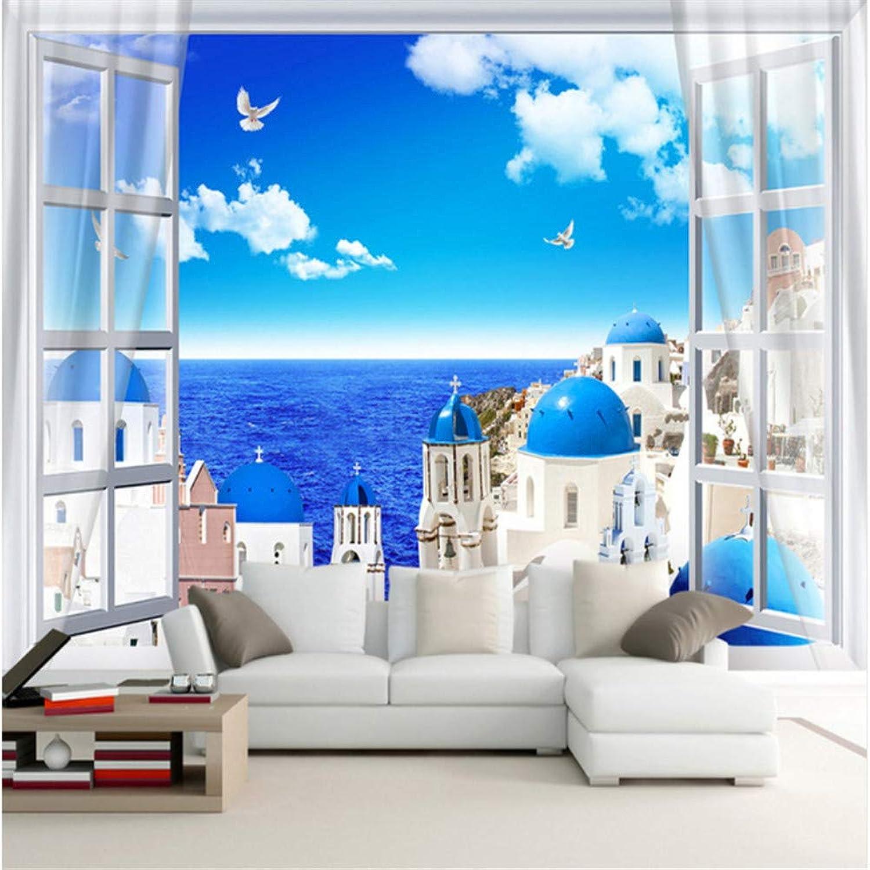 Qqasd Personalizado Mural de parojo en 3D Castillo de estilo mediterráneo Rollo de papel tapiz para parojoes Sala de estar 3D TV Fondo de papel de parojo Decoración para el hogar-200X140CM