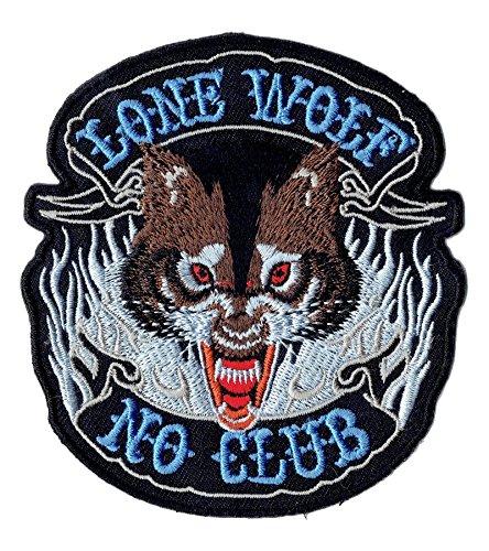 'Logo Parche/Iron on Patch Lone Wolf No Club/Biker Patch
