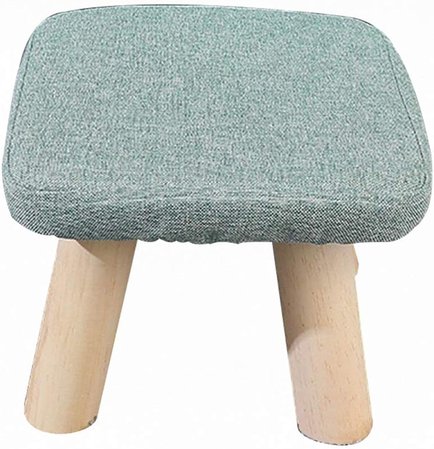 ZDYUY Square Wooden Wood Support Pouffe Chair Stool Fabric Cover 4 Legs (color   C)