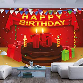 BBING COLOR 100x100 inches Wall Mural,Teenage Party Set Up with Colorful Flags Ribbons Balloons Cake Peel and Stick Self-Adhesive Wallpaper Removable Large Wall Sticker Wall Decor for Home Office