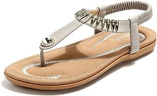 Bohemian Sandals,Women's Metal Elastic Flat Sandals Summer Bohemia Style Clip Toe Flip Flops Shoes