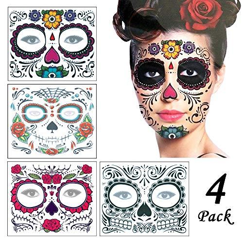 Regalos de Navidad Halloween Cara Tatuaje Pegatinas 4Pcs, Calcomanía temporal del tatuaje del maquillaje del tatuaje del cráneo de la moda para el partido de la mascarada de la Navidad