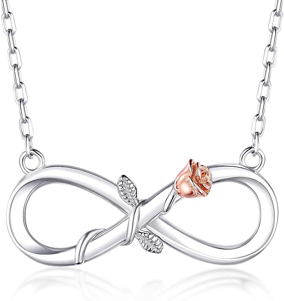 Blinggem collana per donna in  argento 925 pendente infinite rose BGN302