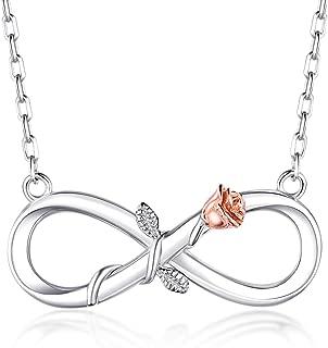 BlingGem 18K White Gold-Plated 925 Sterling Silver Infinity Rose Pendant Necklace for Women,18 Inch