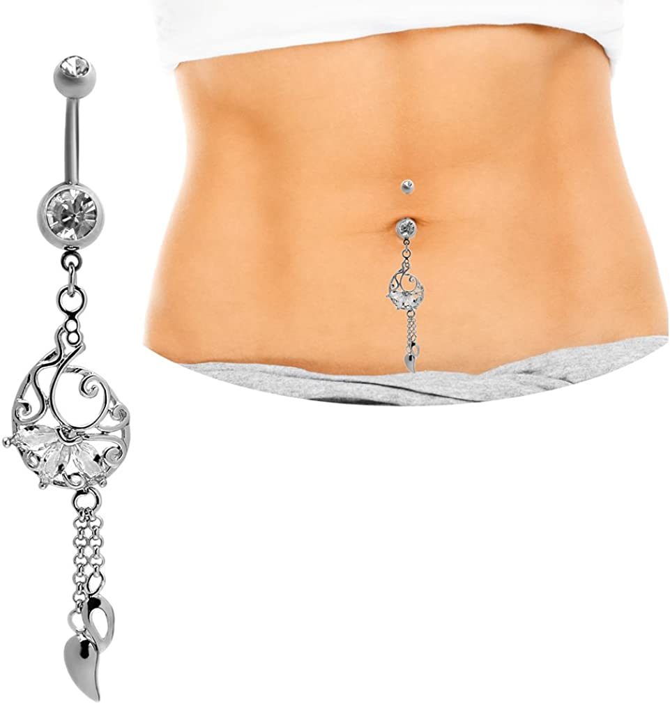 Mutreso Belly Button Navel Ring Surgical Steel Tassel Dangle Belly Ring Curved Barbell Crystal Body Piercing Jewelry