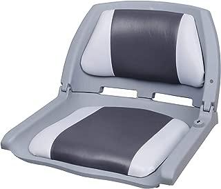[pro.tec] Asiento de barco / silla de barco - plegable y tapizado [gris- blanco] piel sintética