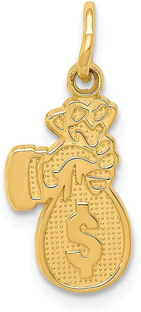 14k Yellow Gold Money Bag Pendant Charm Necklace Gambling Fine Jewelry For Women Gifts For Her