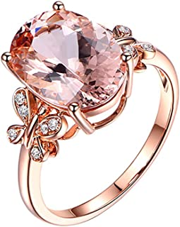 winsopee Fashion Ring for Women Natural Morgan Stone Plated 18K Rose Gold and Diamond Ring Wedding Promise Engagement Ring