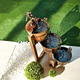 DURABLE MATERIAL - Patio barrel made with solid fir and feature metal faucet and plastic waterproof inner liners. Move carefully to prevent the wood from cracking. INGENIOUS DESIGN - This water fountain features a electric submersible pump. Water spi...
