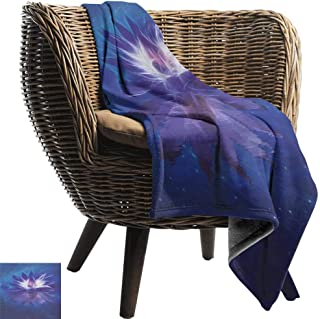 Sofa Cushion Lotus Lotus Flower in Outer Space Among Stars Universe Harmony Mystic Sacred Graphic Throw Blanket Adult Blanket 80